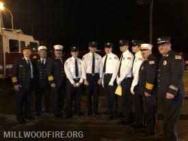 (Left to Right) Ex-Chief Greg Santone, 1st Assistant Chief Jan Schwark, 2nd Assistant Chief Frank Nestro, Probationary FF Jon Doyle, Probationary FF Aron Zhao, Probationary FF Matt Eiden, Probationary FF Dominic Raguso, Probationary FF Arton Mekuli, Chief Jorge Rodrigues and Captain Chris Raguso